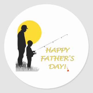 Happy Father's Day Fishing Silhouette Round Sticker