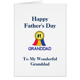Happy Fathers Day Granddad - Ribbon Greeting Card