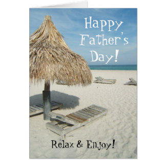 Happy Father's Day Greeting Card, Beach Cabana Card