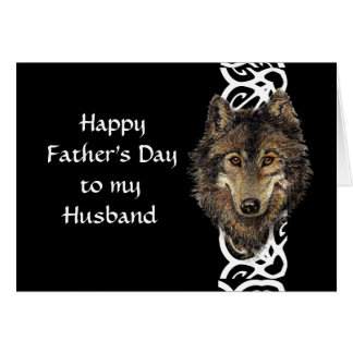 Happy Father's Day Husband Wild Wolf Head Card