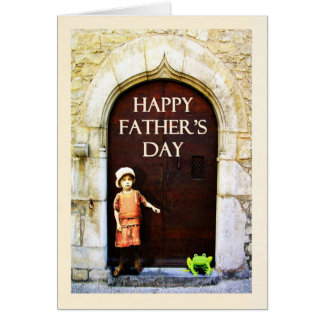 Happy Father's Day. little girl and green frog Card