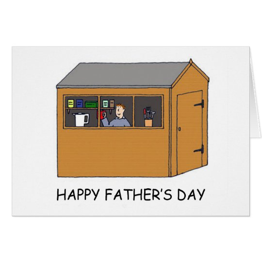 Happy Father's Day, man in his shed. Card