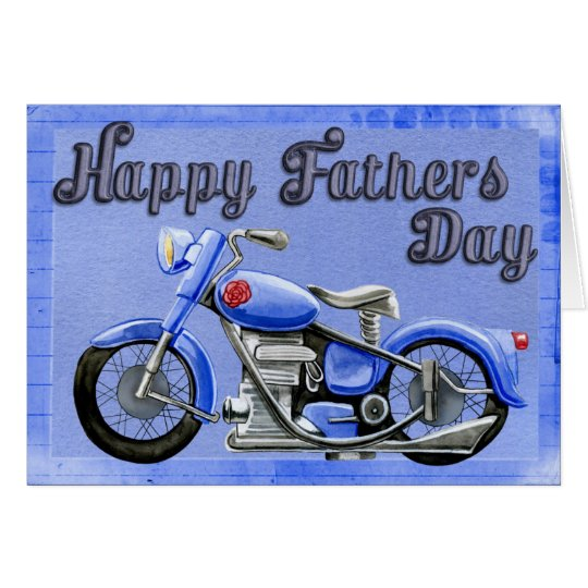 Happy father's day motorcycle blue greeting card
