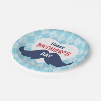 Happy Father's Day Mustache and Heart Paper Plate