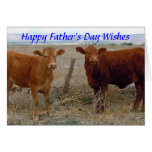 Happy Father's Day - Red Cow Animal Humour - Ranch Greeting Card