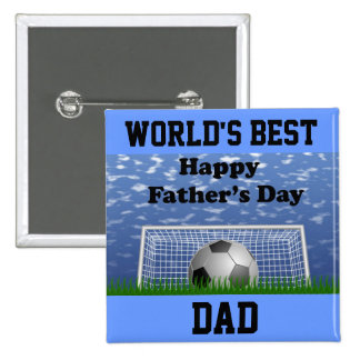 Happy Fathers Day Soccer 15 Cm Square Badge