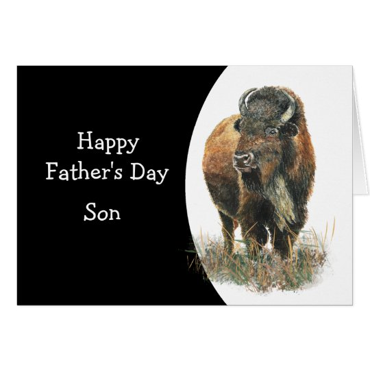 Happy Father's Day Son Watercolor Buffalo Bison Card