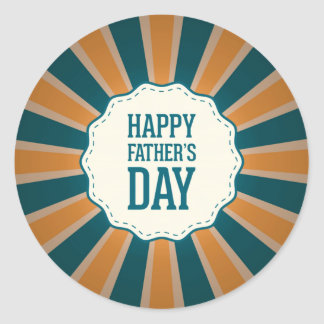 Happy Father's Day Sunburst  in Orange and Blue Classic Round Sticker