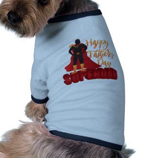 Happy Fathers Day Super Dad Color Illustration Ringer Dog Shirt