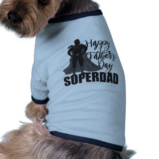 Happy Fathers Day Super Dad Illustration Ringer Dog Shirt