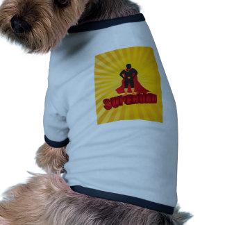 Happy Fathers Day Super Dad Sun Rays Illustration Ringer Dog Shirt