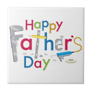 happy father's day small square tile