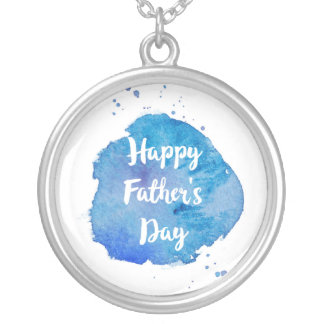 Happy Father's Day|Watercolor Splash Silver Plated Necklace
