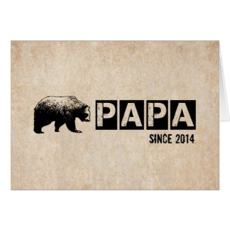 Happy Father's Day with Papa Bear Grunge Black Greeting Card