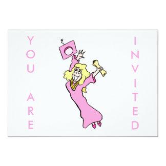 "Happy Female Graduate in Pink 5"" X 7"" Invitation Card"