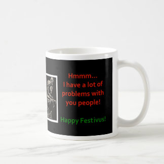 Happy Festivus humor funny The Thinker Coffee Mugs