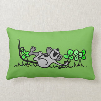 Happy FieldMouse Green Pillow