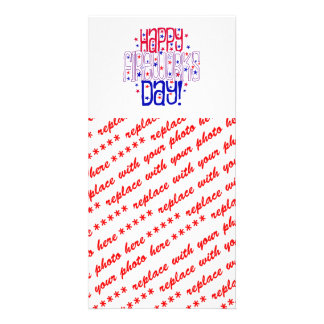 Happy Fireworks Day ! With Red White & Blue Stars Customised Photo Card