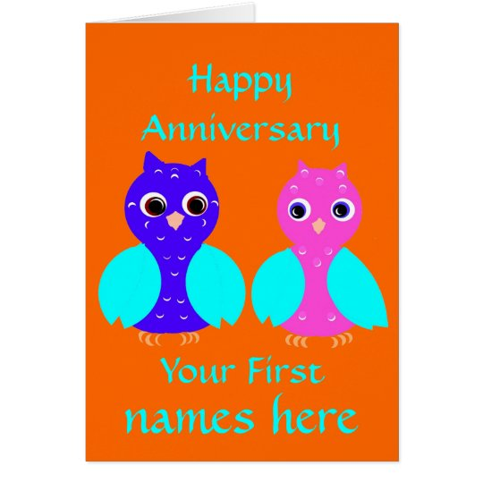 Happy First Anniversary Cute Owl Couple Customise Card