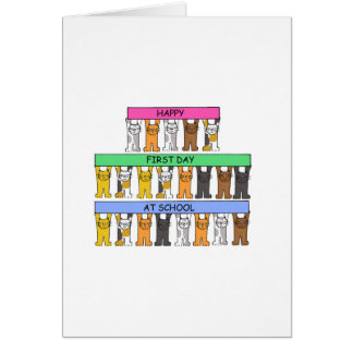 Happy First Day at school with cartoon cats. Card