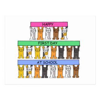 Happy First Day at school with cartoon cats. Postcard
