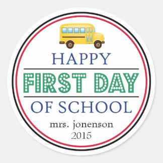 Happy First Day Of School Bus Sticker (Green)