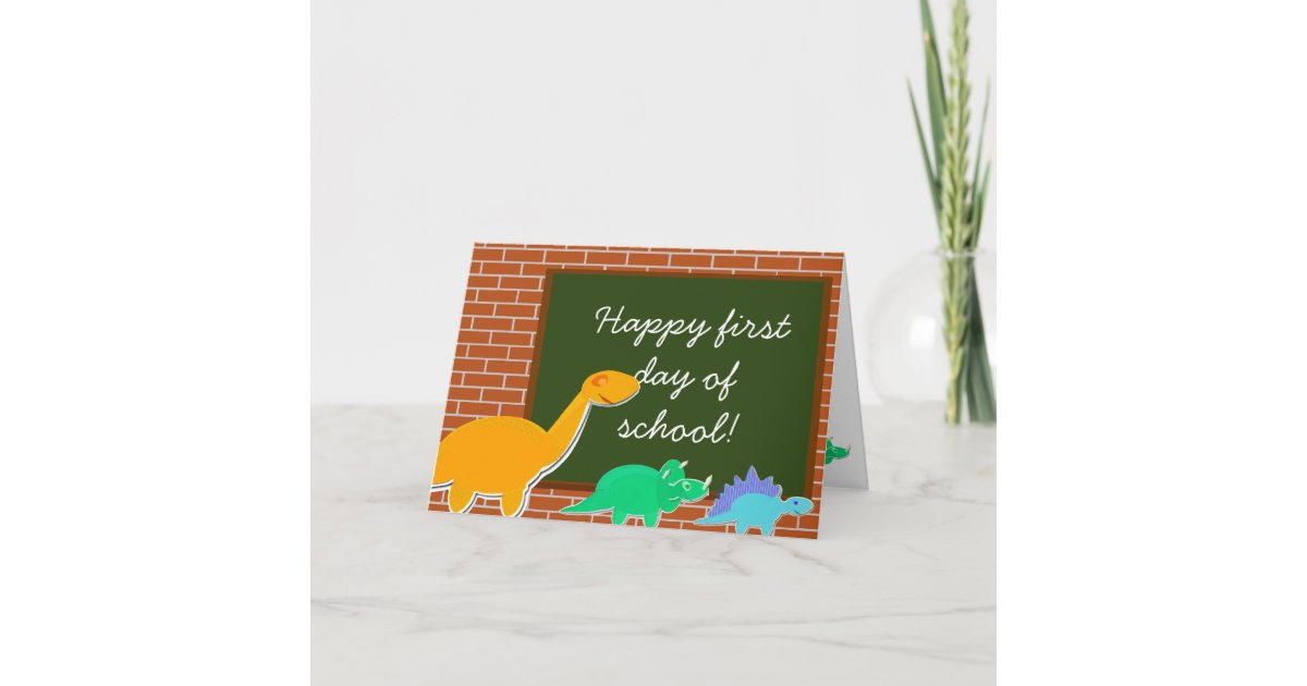 Happy first day of school cartoon dinosaurs card zazzle m4hsunfo