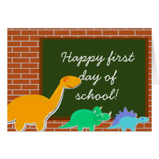 Happy First Day of School Cartoon Dinosaurs Card