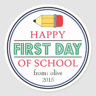 Happy First Day Of School Pencil Sticker (Green)