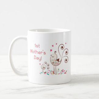 Happy First Mother's Day, Cute Birds on Stripes Coffee Mug