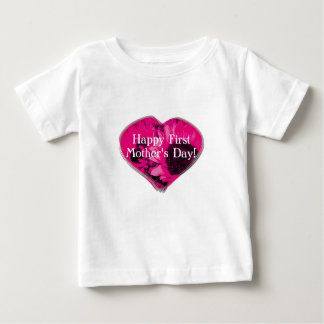"""""""Happy First Mother's Day"""" - Pink Sunflowers/Heart Baby T-Shirt"""