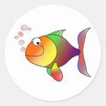 Happy Fish ~ Bubbles Round Sticker