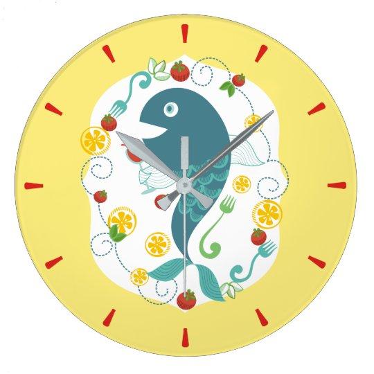 Happy fish dinner drinking wine kitchen clock