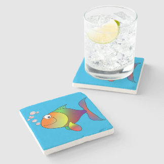 Happy fish stone coaster