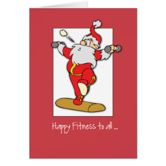 Happy Fitness Exercise Christmas with Santa Card