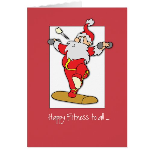 Happy Fitness Exercise Christmas with Santa Greeting Cards