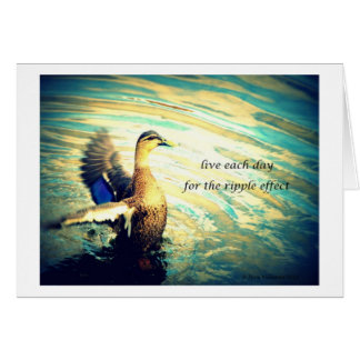 Happy flapping duck in water greeting card
