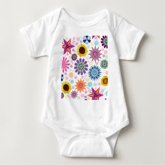 Happy floral pattern baby bodysuit