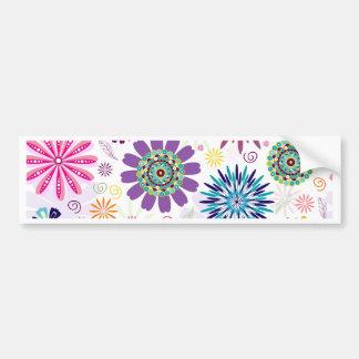 Happy floral pattern bumper sticker
