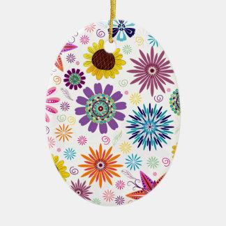 Happy floral pattern ceramic oval decoration