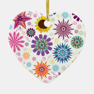 Happy floral pattern christmas ornament