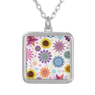 Happy floral pattern silver plated necklace