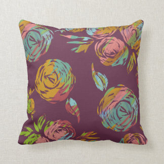"Happy Florals Magenta Throw Pillow 16""x16"""