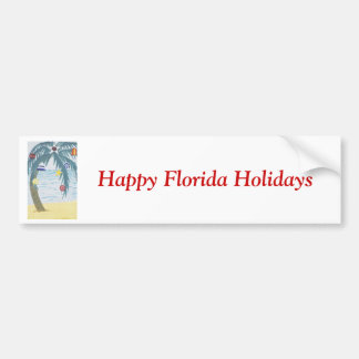 Happy Florida Holidays, palm tree with ornaments Bumper Sticker