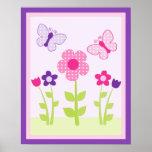 Happy Flower & Butterfly Wall Art Poster/Print