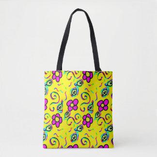happy flower design tote bag