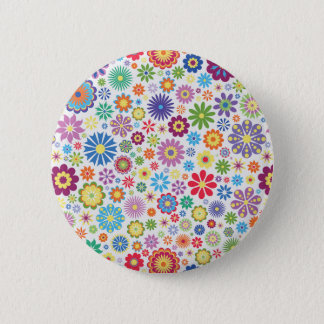 Happy flower power 6 cm round badge