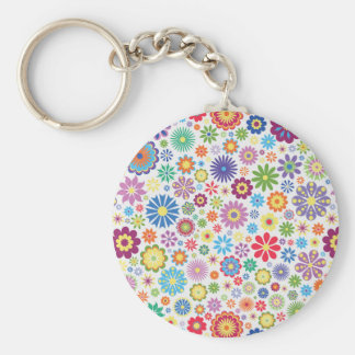 Happy flower power basic round button key ring