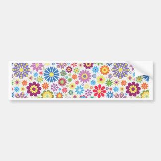 Happy flower power bumper sticker