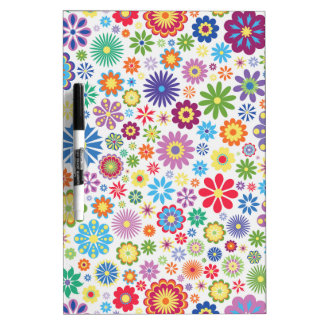Happy flower power dry erase white board